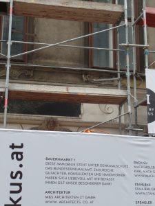 Denkmalschutz an der Baustelle Bauernmarkt 1 in Wien