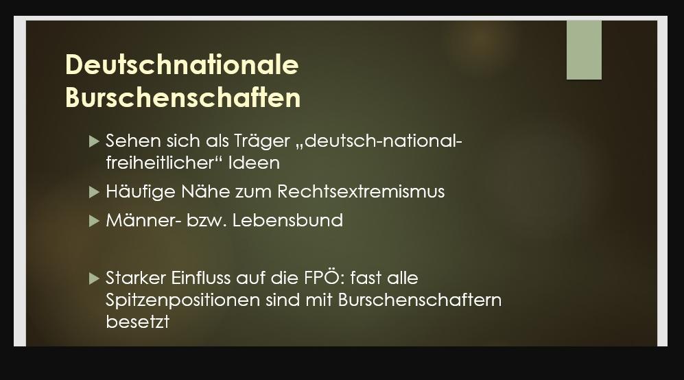 Eine Präsentationsseite, auf der FPÖ steht. von Thomas Ramerstorfer