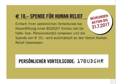 Bawag-Spende für Human Relief