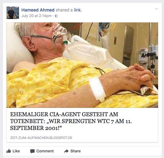 Facebookposting 9/11
