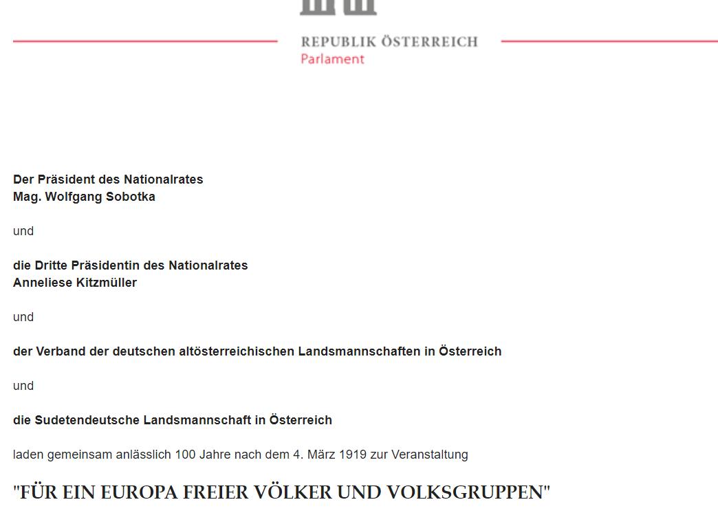 Einladung Vertreibung Parlament